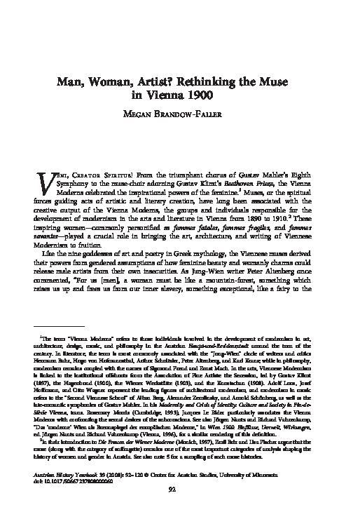 "PDF) ""Man, Woman, Artist: Rethinking the Muse in Vienna 1900"