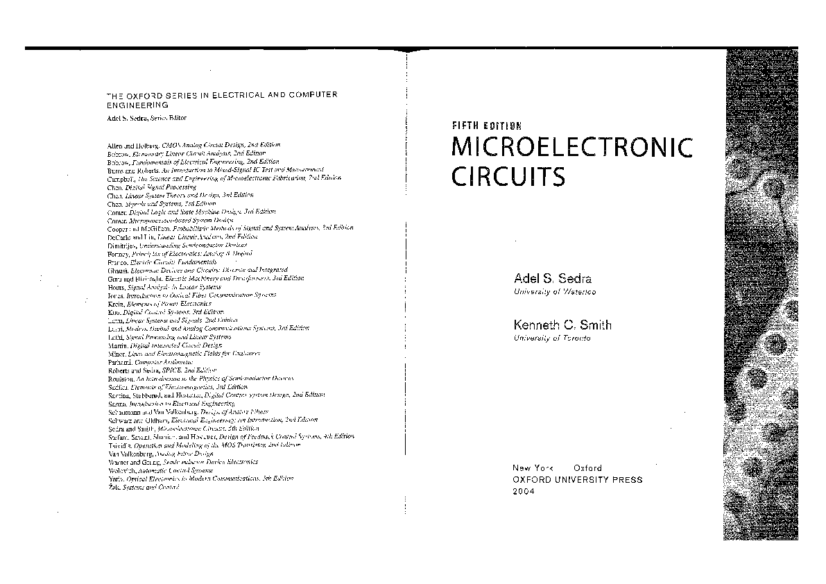microelectronic circuits by sedra smith 5th edition