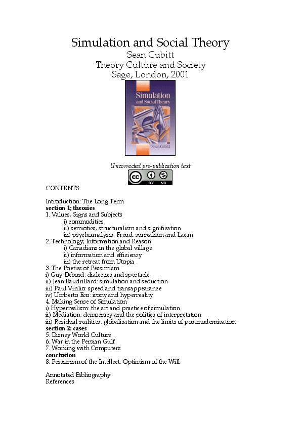 PDF) Simulation and Social Theory | Sean Cubitt - Academia edu