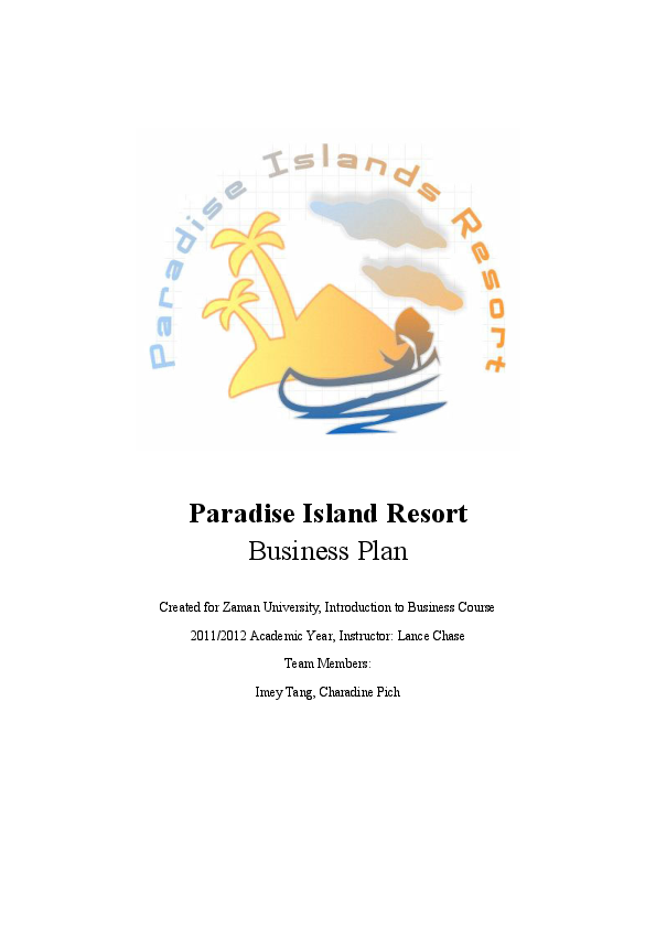 PDF) Paradise Island Resort_ A Completed Business Plan | Charadine
