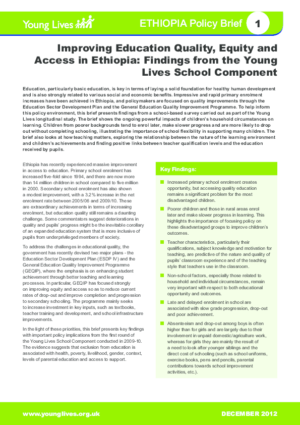 PDF) Work featured in: Improving education quality, equity and
