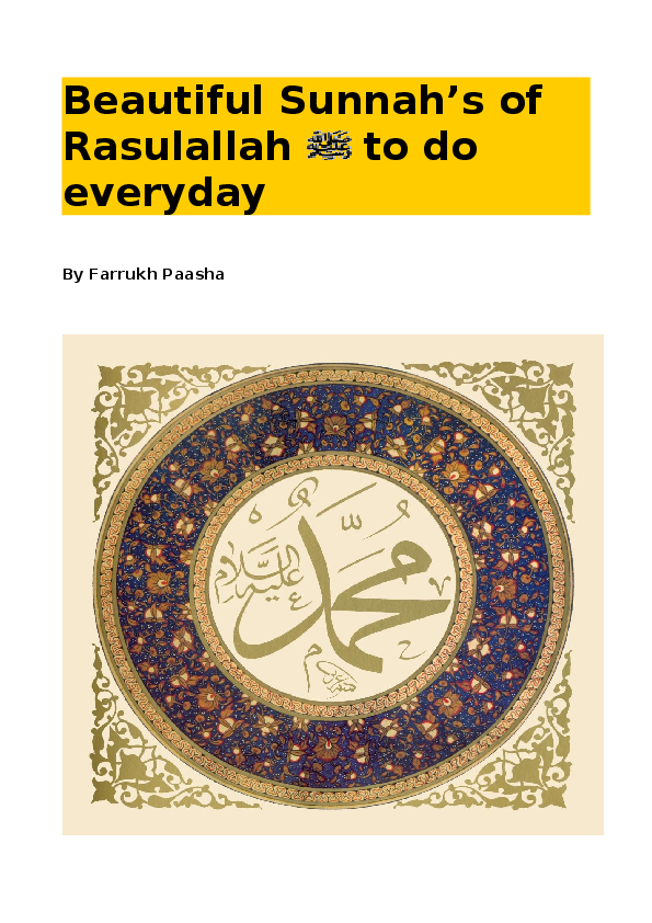 PDF) Beautiful Sunnah's of Rasulallah to do everyday | Hajji Yaqub