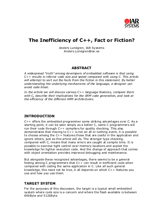 PDF) The Inefficiency of C++, Fact or Fiction? Anders