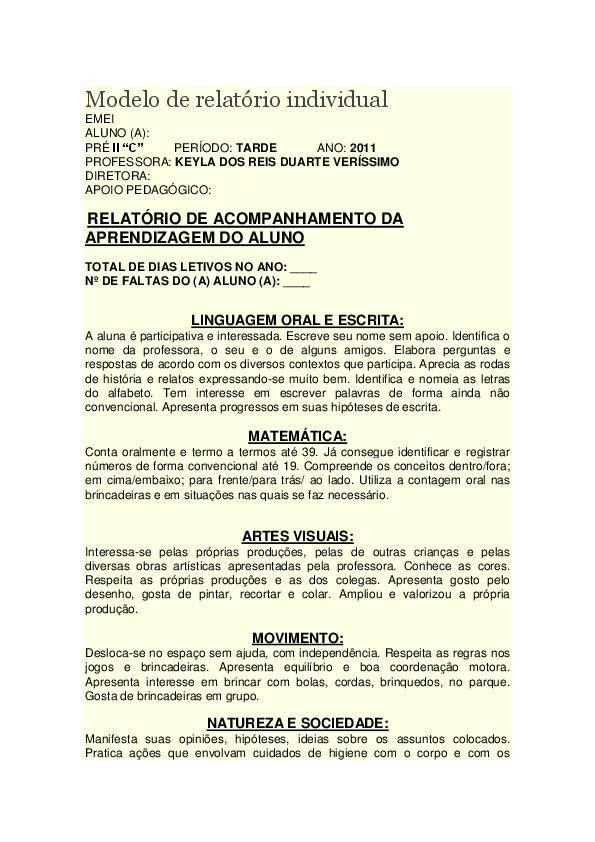 Modelo De Relatório Individual Ana Cáudia Costa Oliveira
