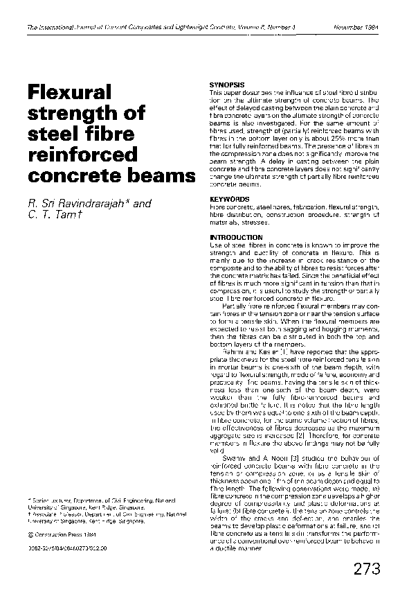 PDF) Flexural strength of steel fibre-reinforced beams