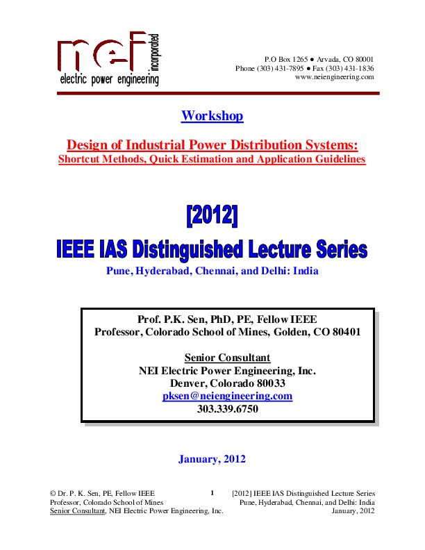 PDF) Design of Industrial Power Distribution Systems