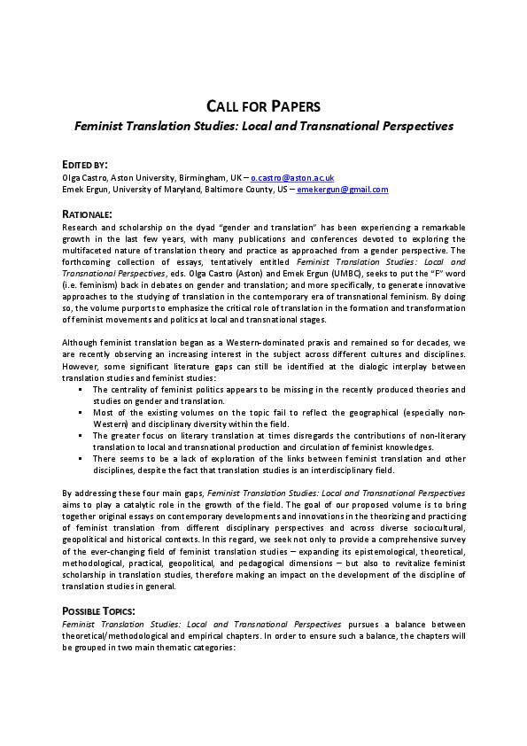 Feminist essay topics