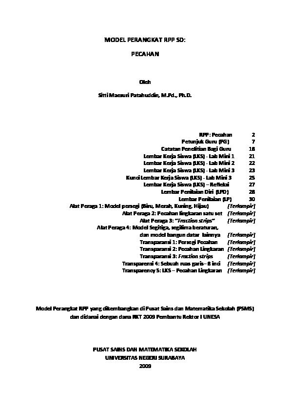 Pdf Contoh Perangkat Pembelajaran Pecahan Sitti Patahuddin Academia Edu