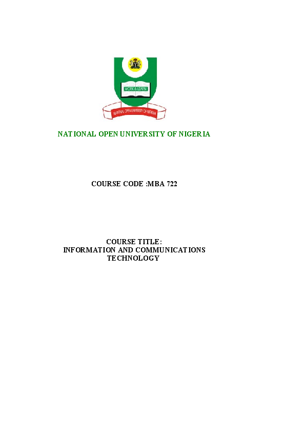 PDF) NATIONAL OPEN UNIVERSITY OF NIGERIA COURSE CODE :MBA 722 COURSE