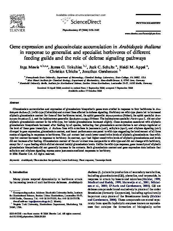 PDF) Gene expression and glucosinolate accumulation in