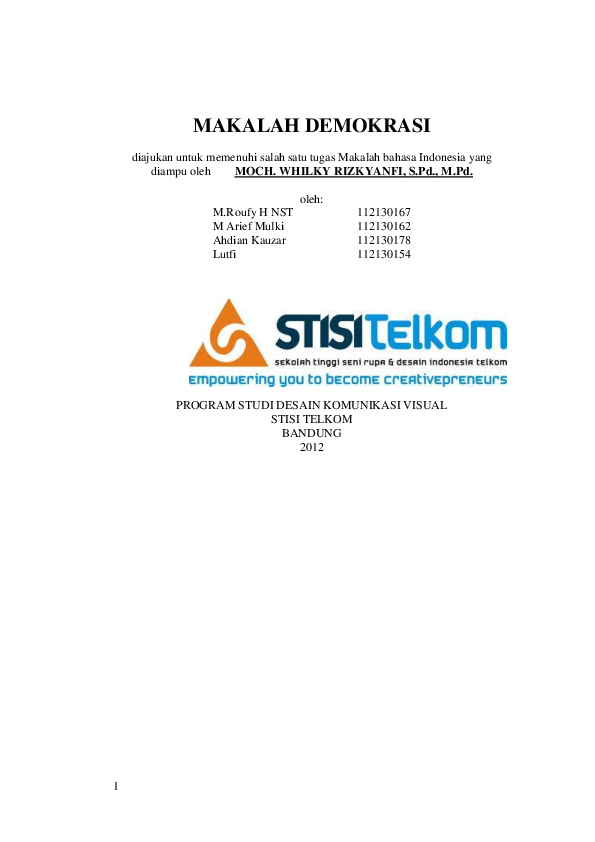 Pdf Makalah Demokrasi Stisi Telkom Academia Edu