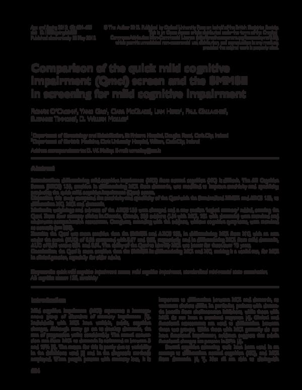 PDF) Comparison of the quick mild cognitive impairment (Qmci