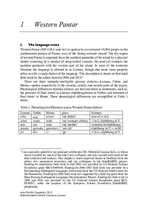 Pdf Sketch Of Western Pantar Gary Holton Academia Edu