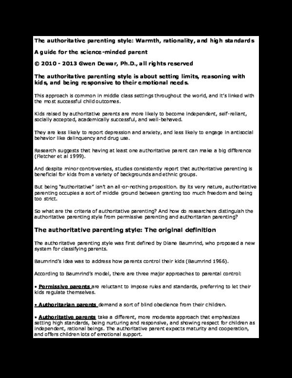 Doc The Authoritative Parenting Style Thomas Finley Academia Edu