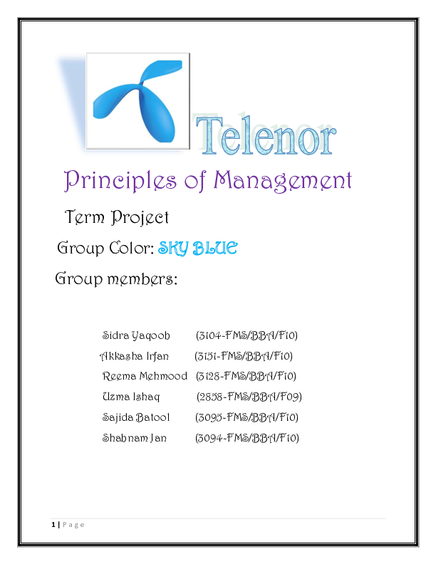 DOC) Management of Telenor Pakistan | Akkasha Raja - Academia edu