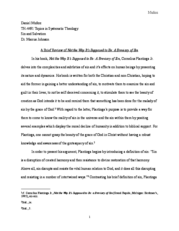PDF) A Brief Review of Cornelius Plantinga's
