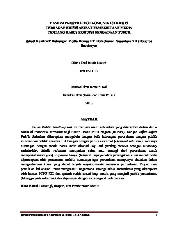Pdf Jurnal Penelitian Skripsi Dwi Indah Lestari Academia Edu