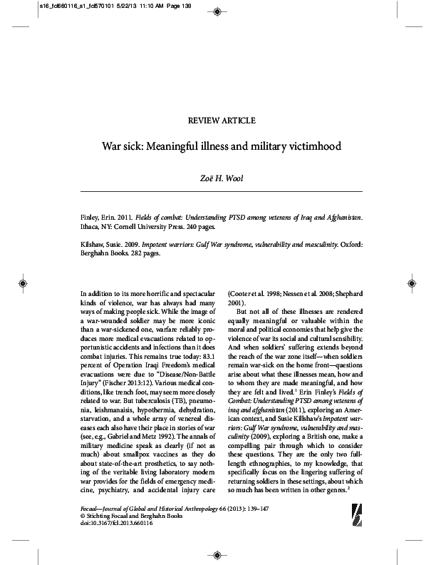 PDF) War Sick: Meaningful illness and military victimhood