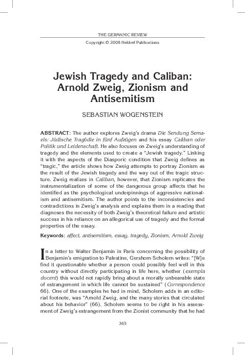 Jewish Tragedy And Caliban Arnold Zweig Zionism And Antisemitism