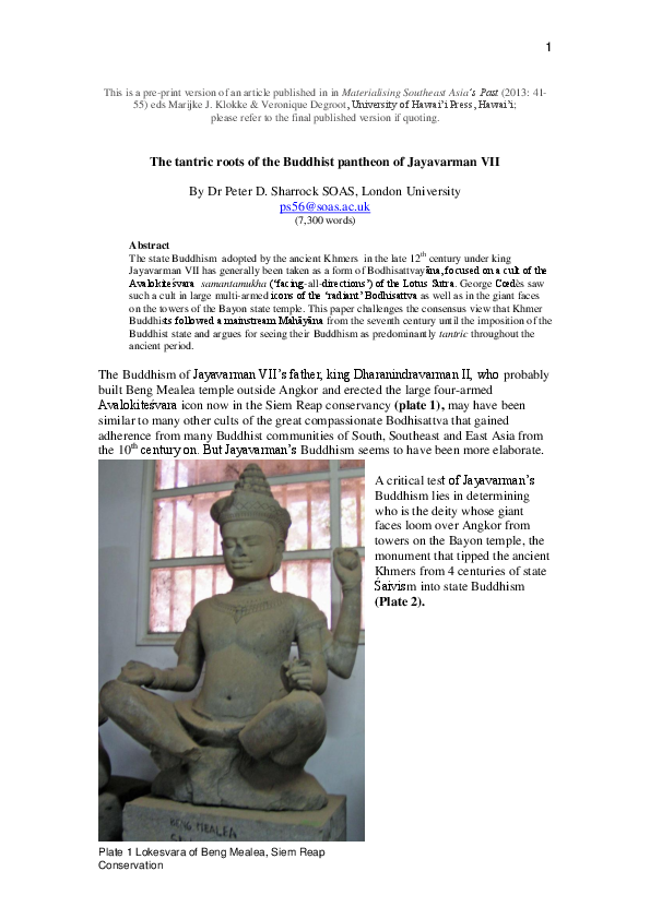 PDF) 2013 The tantric roots of the Buddhist pantheon of