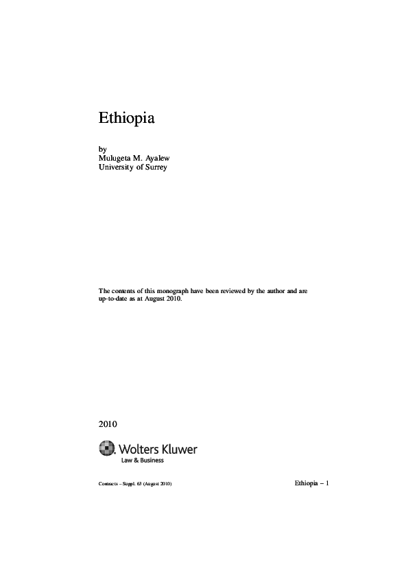 PDF) Ethiopian Law of Contracts | Mulugeta Mengist Ayalew - Academia edu