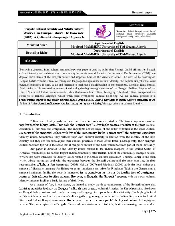 pdf bengali cultural identity and multi cultural america in