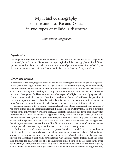 PDF) 'Myth and cosmography: on the union of Re and Osiris in