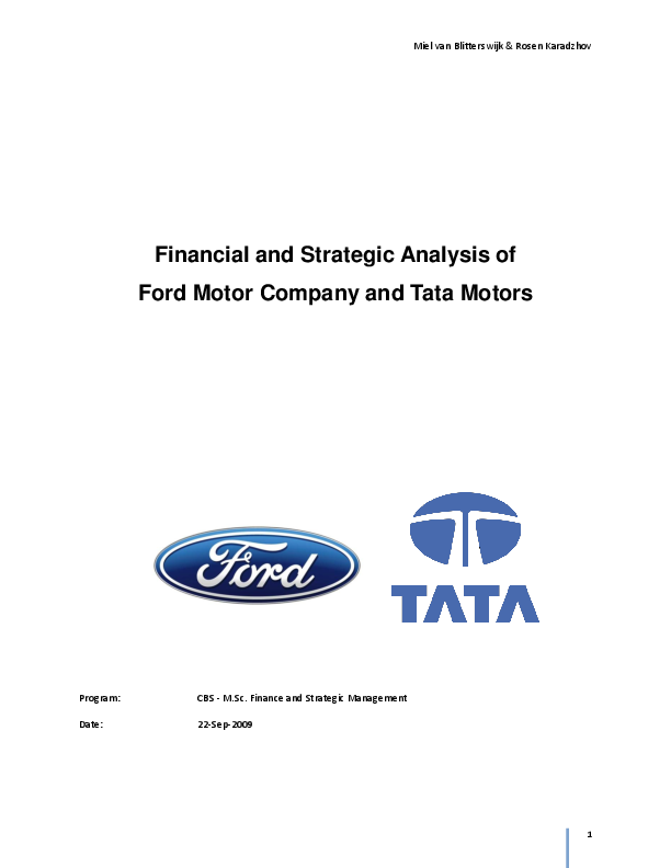 Pdf Financial And Strategic Analysis Of Ford Motor Company And