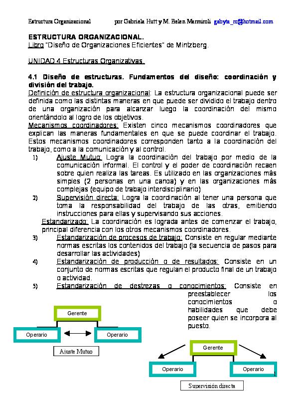 Pdf Estructura Organizacional Mintzberg Martin Guzman