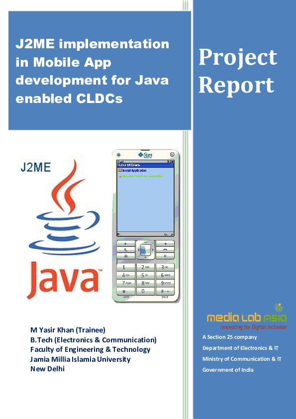 PDF) Project Report on J2ME implementation in Mobile App