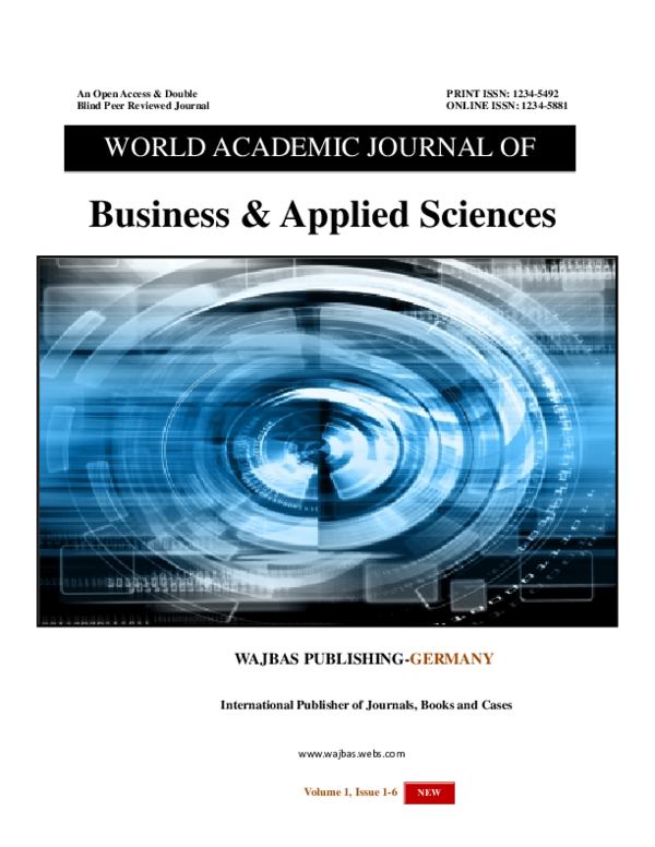 Pdf Issues March Agust 2013 World Academic Journal Of