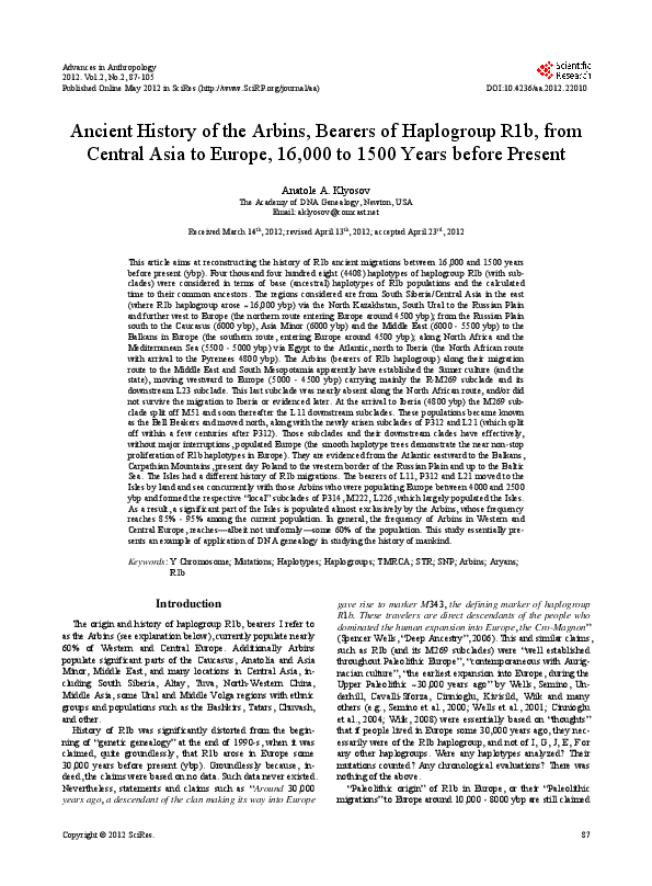 PDF) Ancient History of the Arbins, Bearers of Haplogroup R1b, from
