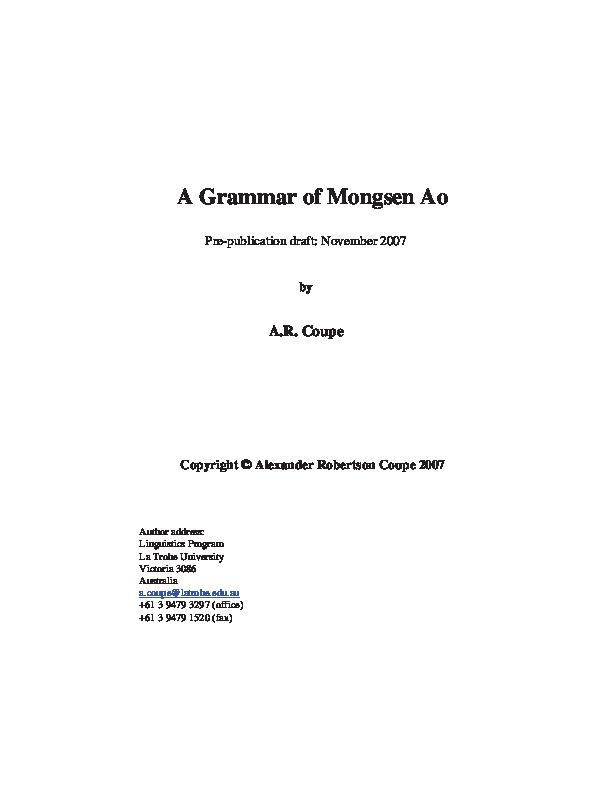 PDF) A Grammar of Mongsen Ao | Alexander Coupe - Academia edu