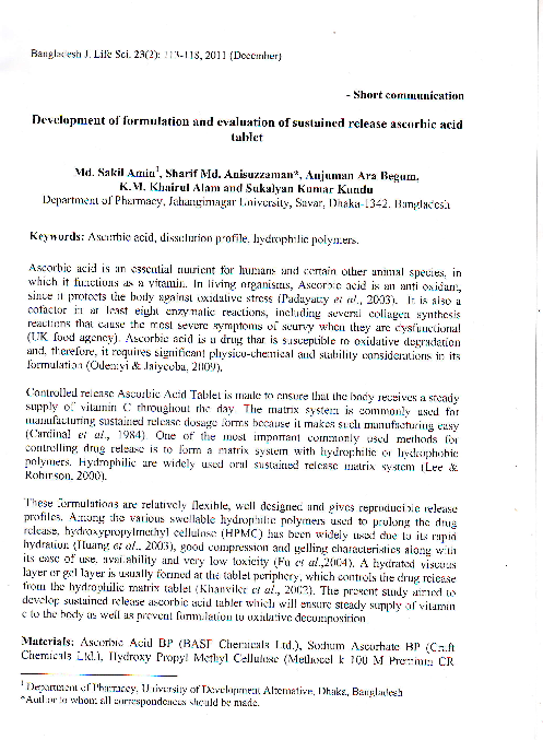 PDF) Development of formulation of ascorbic acid sustained release