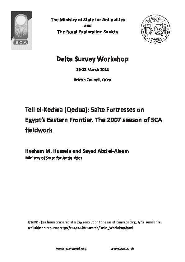 PDF) Tell el-Kedwa (Qedua): Saite Fortresses on Egypt's