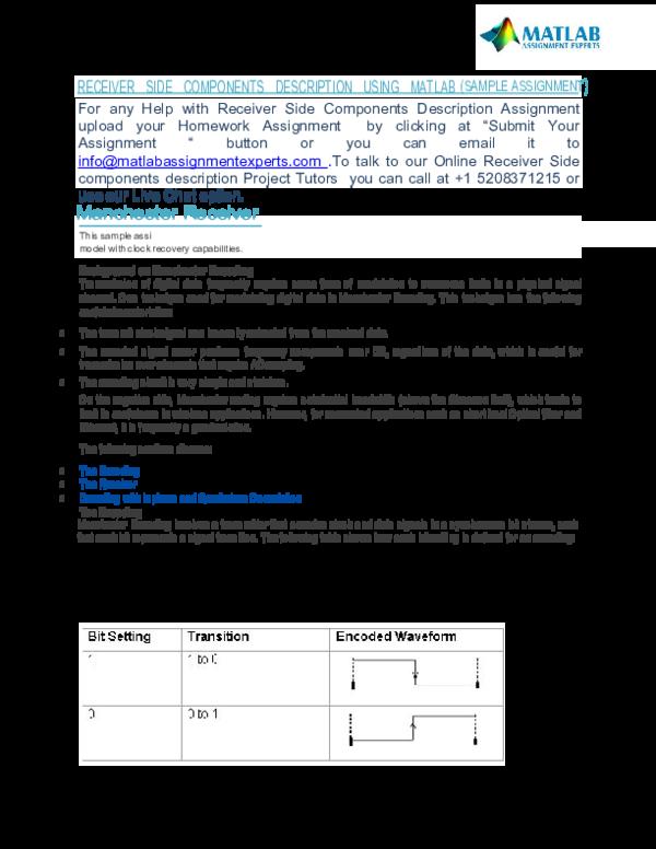 PDF) Receiver Side components description USING MATLAB