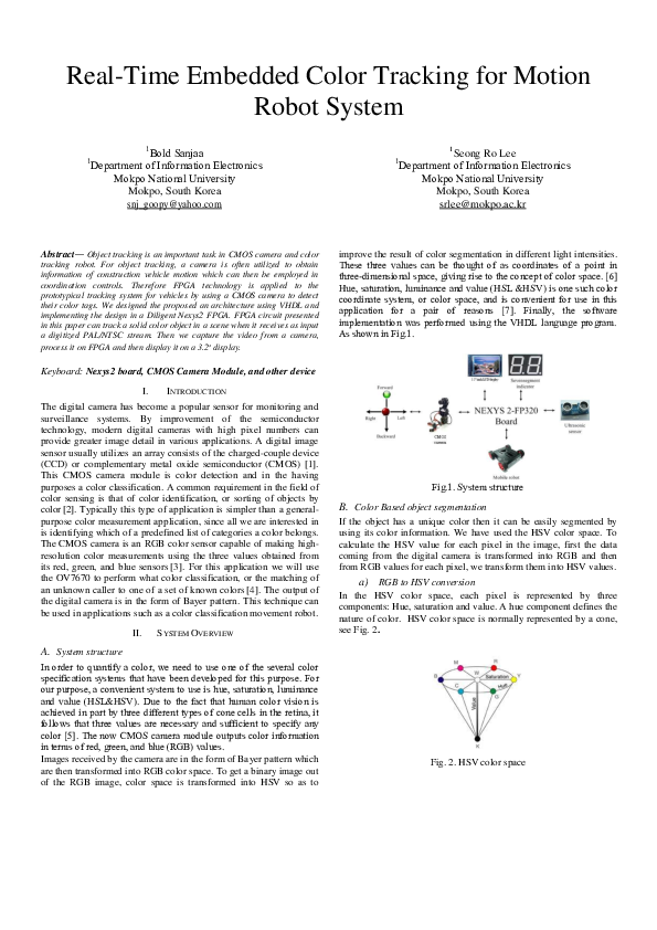 PDF) Real-Time Embedded Color Tracking for Motion Robot System