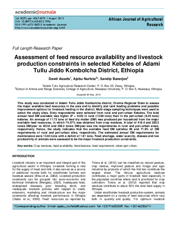 PDF) Assessment of feed resource availability and livestock
