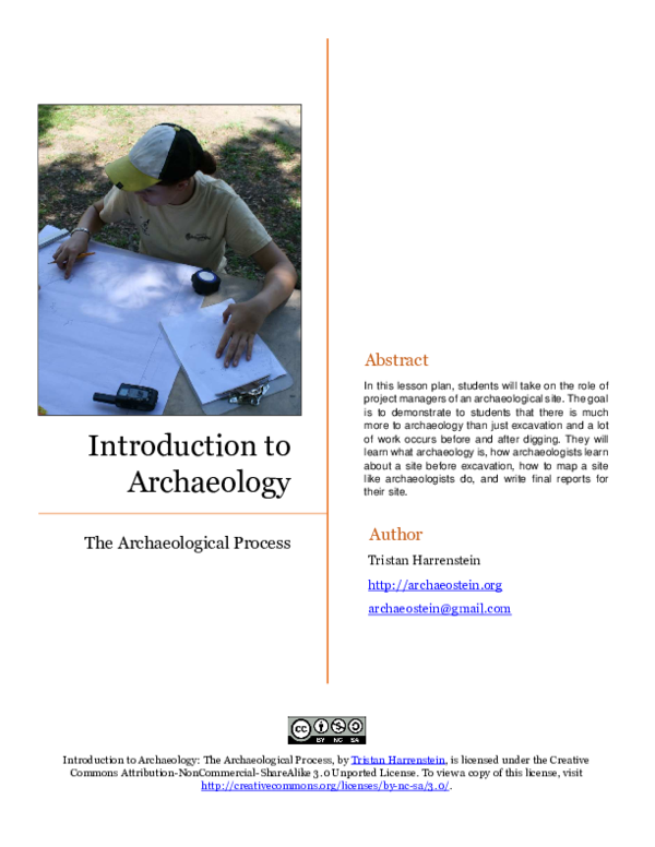 Pdf Introduction To Archaeology The Archaeological Process Tristan Harrenstein Academia Edu