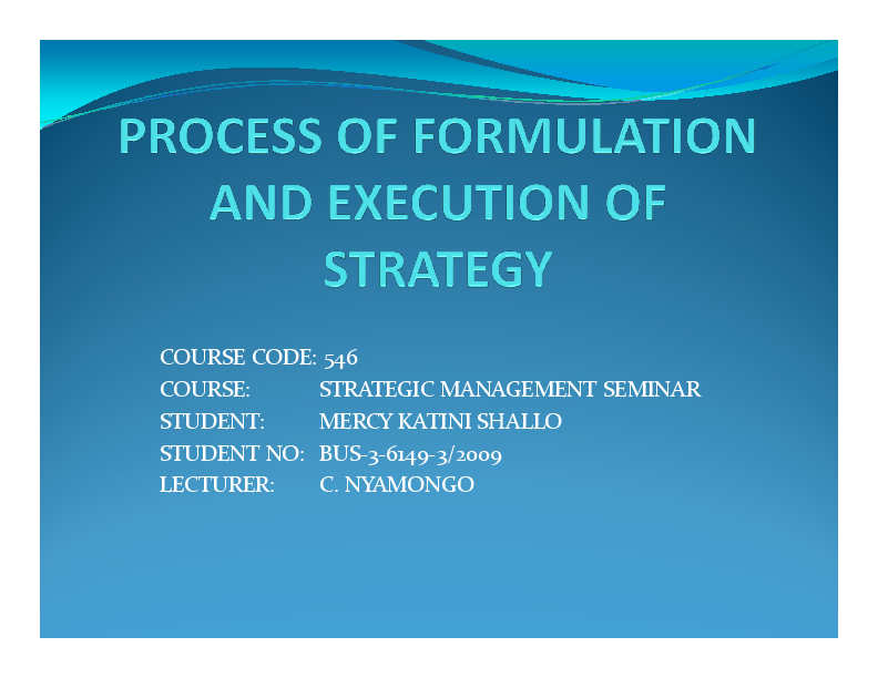 PDF) FORMULATION AND IMPLEMENTATION OF STRATEGY - Mercy Katini