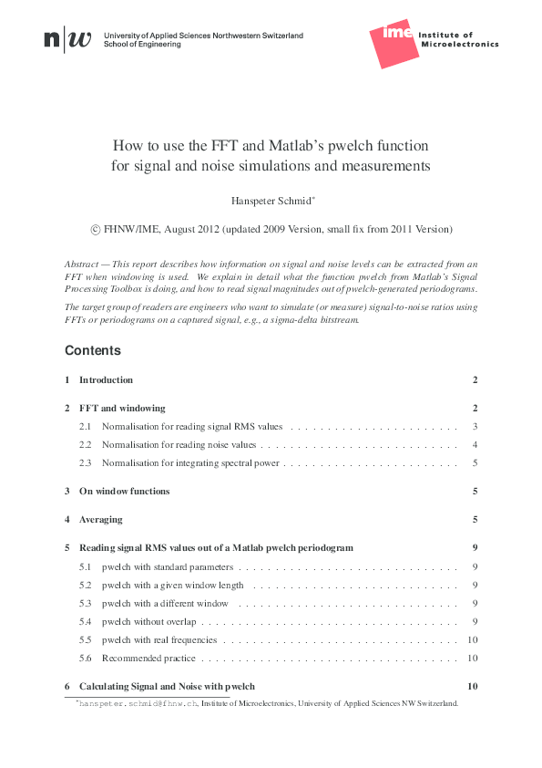 PDF) How to use the FFT and Matlab's pwelch function for