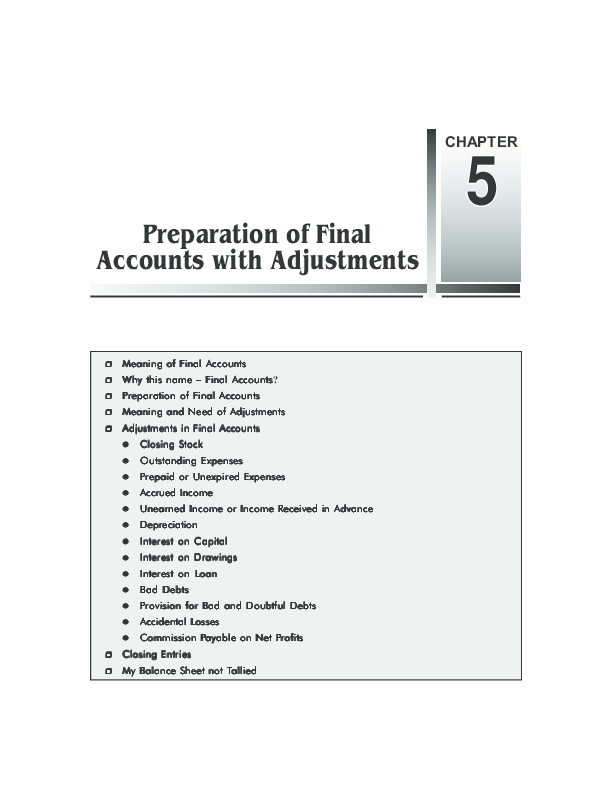 PDF) Chapter 5 Preparation of Final Accounts with Adjustments
