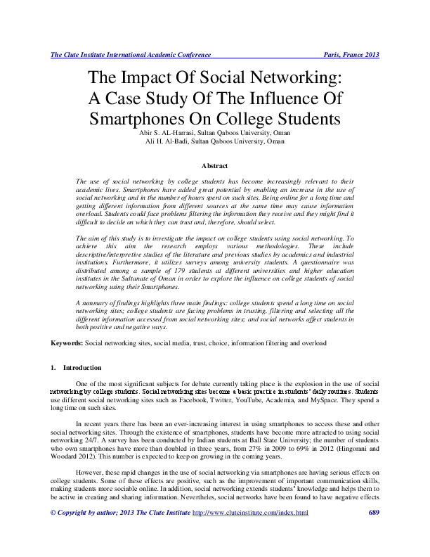 Pdf The Impact Of Social Networking A Case Study Of The Influence Of Smartphones On College Students Abir Al Harrasi Academia Edu