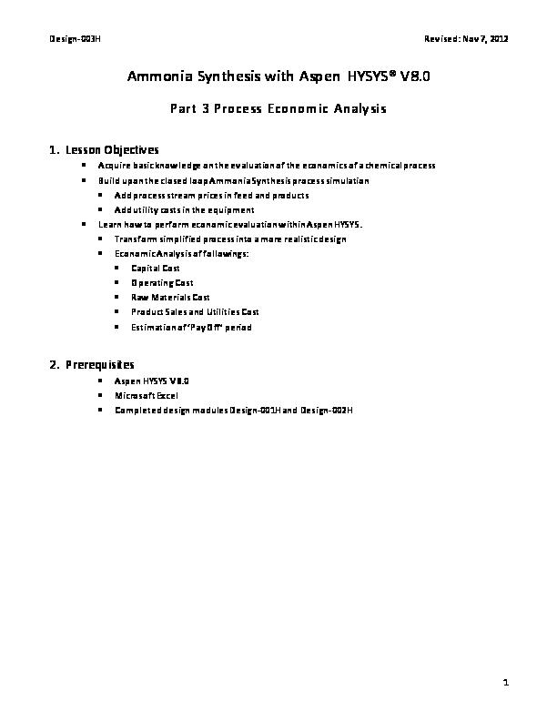 PDF) Ammonia Synthesis   Robert Montoya - Academia edu