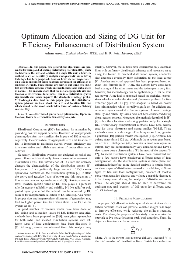 PDF) Optimum Allocation and Sizing of DG Unit for Efficiency