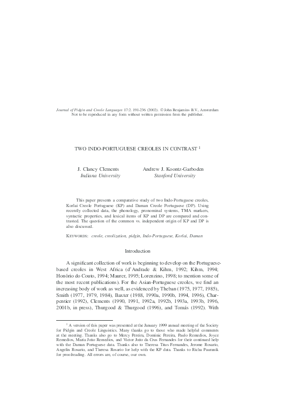 PDF) Two Indo-Portuguese creoles in contrast | J  Clancy