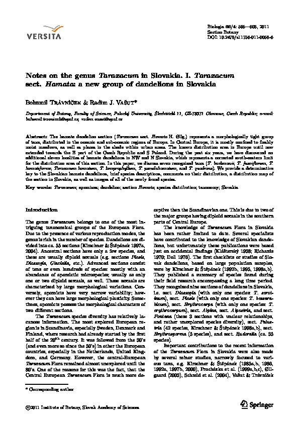 Pdf Notes On The Genus Taraxacum In Slovakia I Taraxacum Sect Hamata A New Group Of Dandelions In Slovakia Radim J Vasut Academia Edu