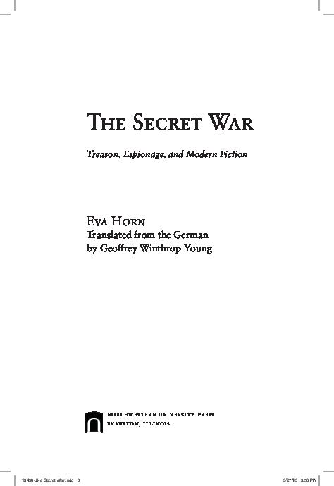 PDF) The Secret War  Treason, Espionage, and Modern Fiction
