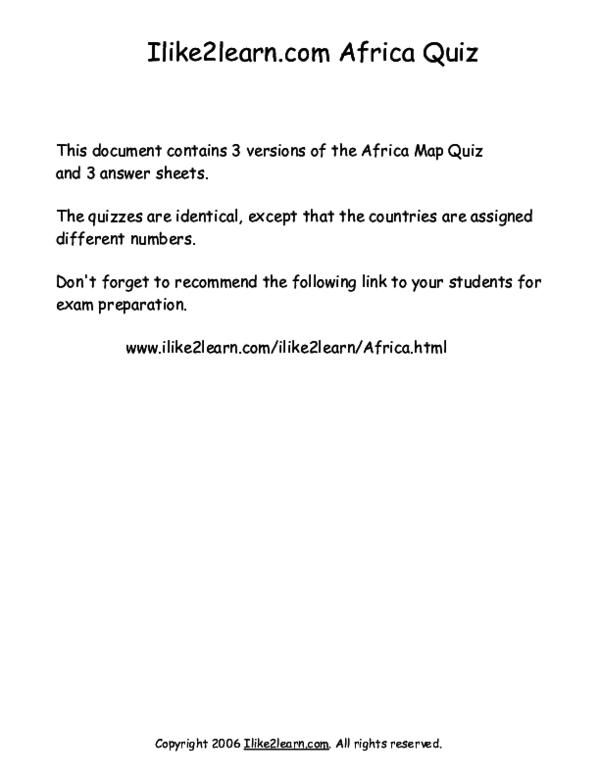 PDF) Africa Map Exam | Make\'da Na\'eem - Academia.edu