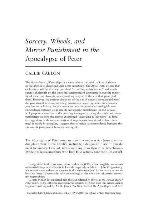 PDF) Sorcery, Wheels, and Mirror Punishment in the